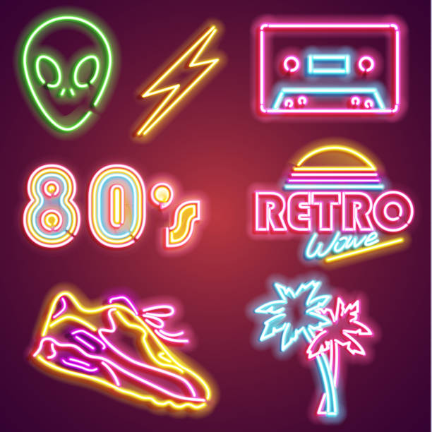 set retrowave neon sign. neon sign, bright signboard, light banner. vector icons - shoes fashion stock illustrations, clip art, cartoons, & icons