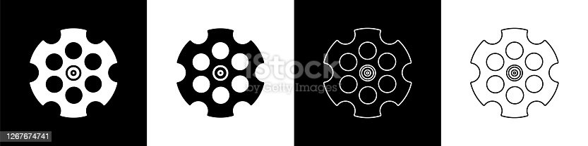 istock Set Revolver cylinder icon isolated on black and white background. Vector Illustration 1267674741