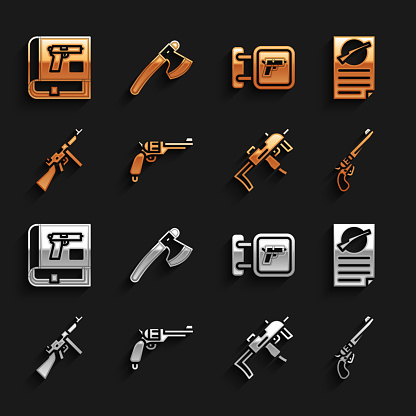 Set Revolver gun, Firearms license certificate, MP9I submachine, Tommy, Hunting shop weapon, Book with pistol or and Wooden axe icon. Vector