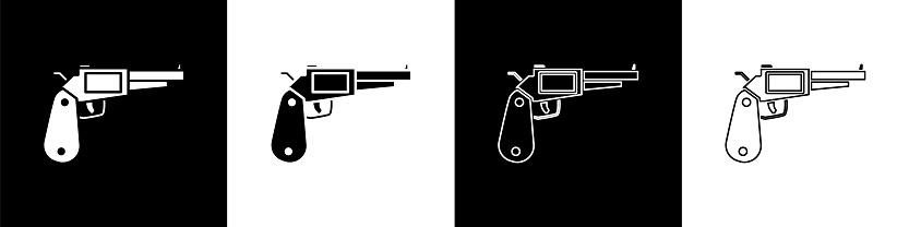 Set Revolver gun icon isolated on black and white background. Vector Illustration