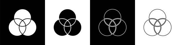 illustrazioni stock, clip art, cartoni animati e icone di tendenza di impostare l'icona di miscelazione dei colori rgb e cmyk isolata su sfondo bianco e nero. illustrazione vettoriale - huế