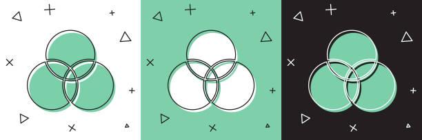 illustrazioni stock, clip art, cartoni animati e icone di tendenza di impostare l'icona di miscelazione dei colori rgb e cmyk isolata su sfondo bianco e verde, nero. illustrazione vettoriale - huế