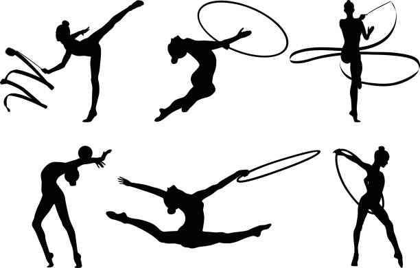 set rhythmic gymnastics vector art illustration