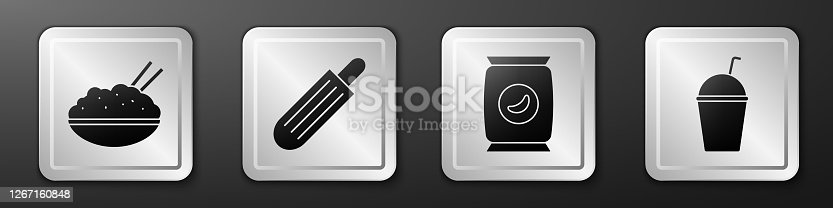 istock Set Rice in a bowl with chopstick, French hot dog, Bag or packet potato chips and Milkshake icon. Silver square button. Vector 1267160848