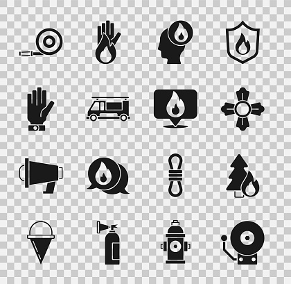 Set Ringing alarm bell, Burning forest tree, Firefighter, truck, gloves, hose reel and Location with fire flame icon. Vector
