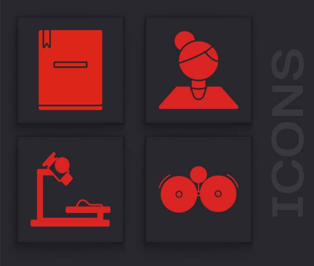 ilustraciones, imágenes clip art, dibujos animados e iconos de stock de ajuste el icono de campana de alarma de timbre, cuaderno, profesor y microscopio. vector - zoom meeting