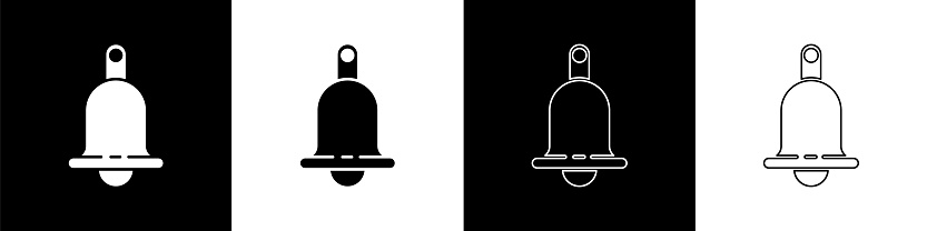 Set Ringing bell icon isolated on black and white background. Alarm symbol, service bell, handbell sign, notification symbol. Vector Illustration