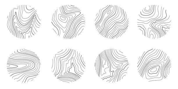 Set rings of topographic line map, circular geographic grid map Set rings of topographic line map, circular geographic grid map. Abstract stock vector illustration contour line stock illustrations