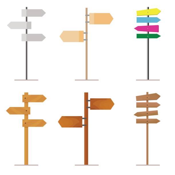 stockillustraties, clipart, cartoons en iconen met set road signs made of wood or metal for your - wegwijzer bord