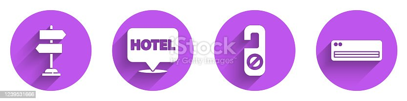 istock Set Road traffic sign, Location hotel, Please do not disturb and Air conditioner icon with long shadow. Vector 1239531666