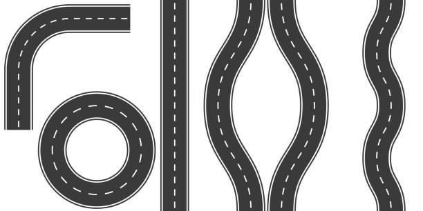 ilustraciones, imágenes clip art, dibujos animados e iconos de stock de marcas de carreteras establecidas, opciones de ilustración vectorial vuelta de la curvatura del camino, desvío, anillo - vía