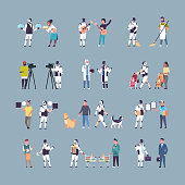 set robot and human in different situations robotic character vs people artificial intelligence technology competition concepts collection full length vector illustration