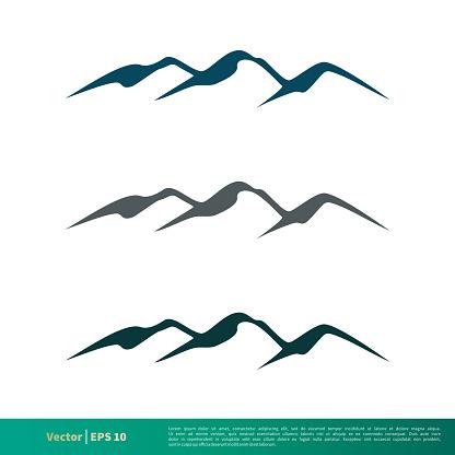 Set Rock Mountain Vector Icon Logo Template Illustration Design. Vector EPS 10.