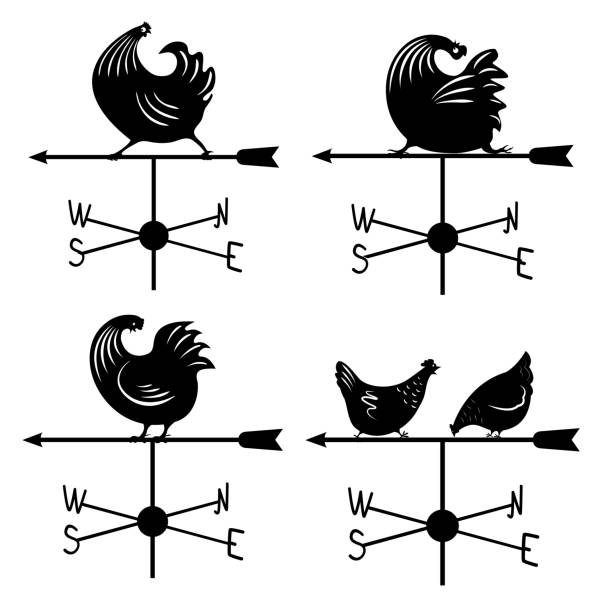 set rooster weathervane Weathervane icon set. logo with a rooster. Vector illustration. weather vane stock illustrations