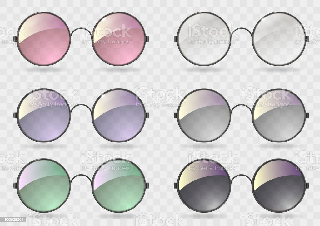 Set ronde bril met verschillende glazen - Royalty-free Achtergrond - Thema vectorkunst