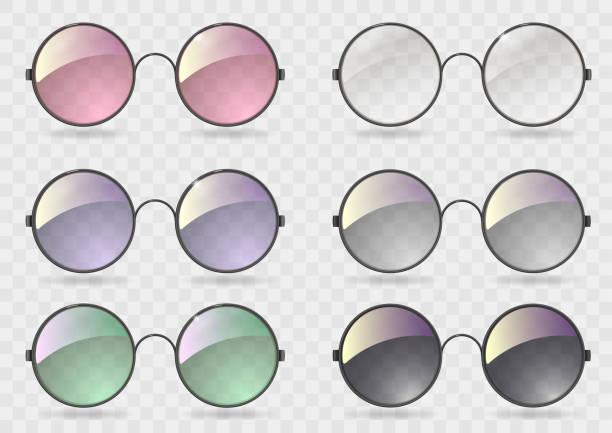 stockillustraties, clipart, cartoons en iconen met set ronde bril met verschillende glazen - hippie