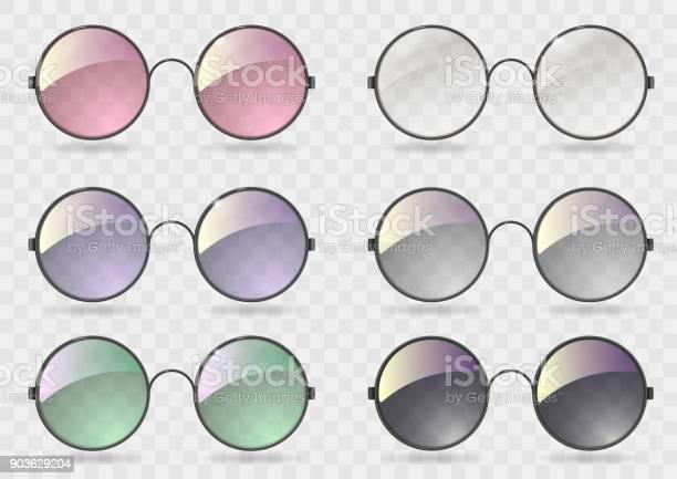 Set Ronde Bril Met Verschillende Glazen Stockvectorkunst en meer beelden van Achtergrond - Thema