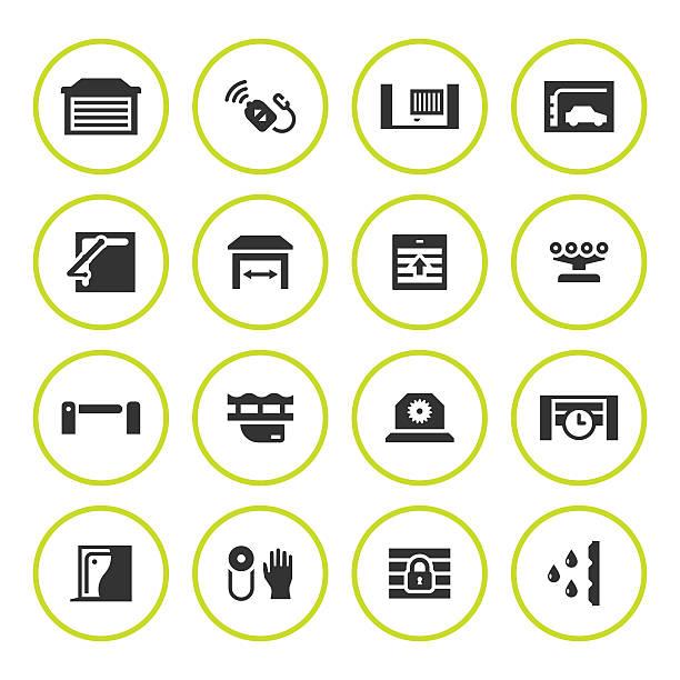 Set round icons of automatic gates vector art illustration