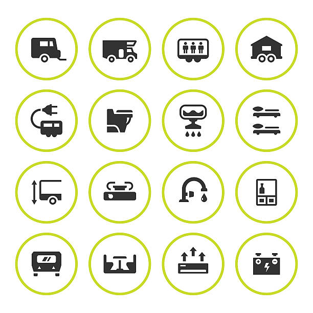 Set round icons of camper, caravan, trailer Set round icons of camper, caravan, trailer isolated on white. This illustration - EPS10 vector file. rv interior stock illustrations