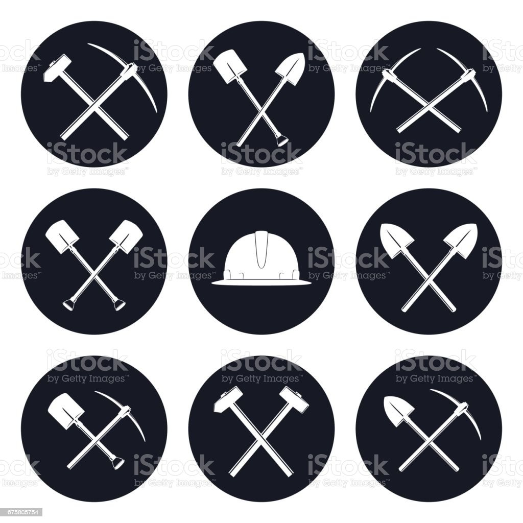 Set Round Icons of Construction Tools vector art illustration