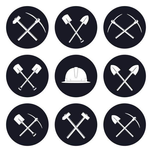 illustrazioni stock, clip art, cartoni animati e icone di tendenza di set round icons of construction tools - raccogliere frutta