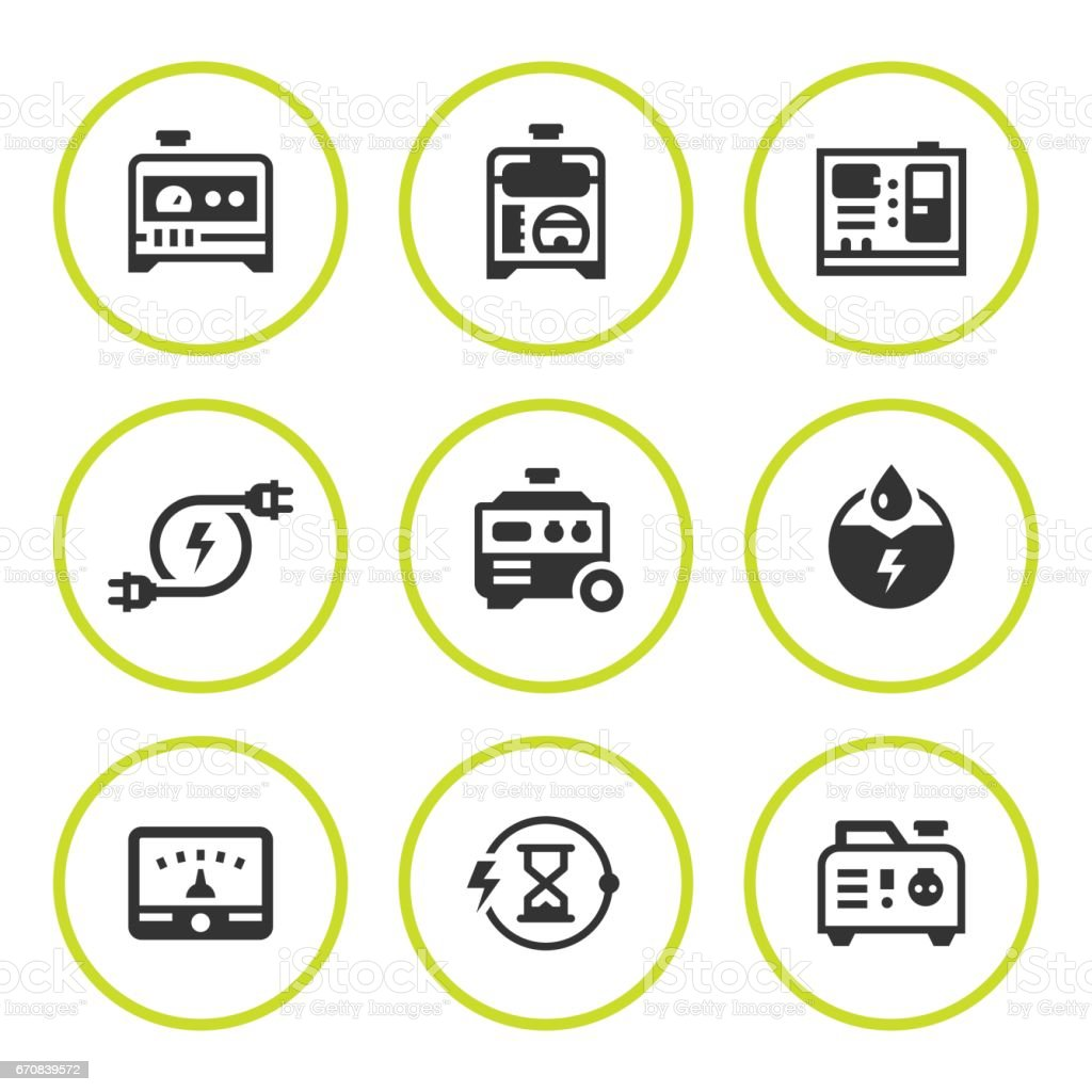 diesel generator icon. Set Round Icons Of Electrical Generator Vector Art Illustration Diesel Icon