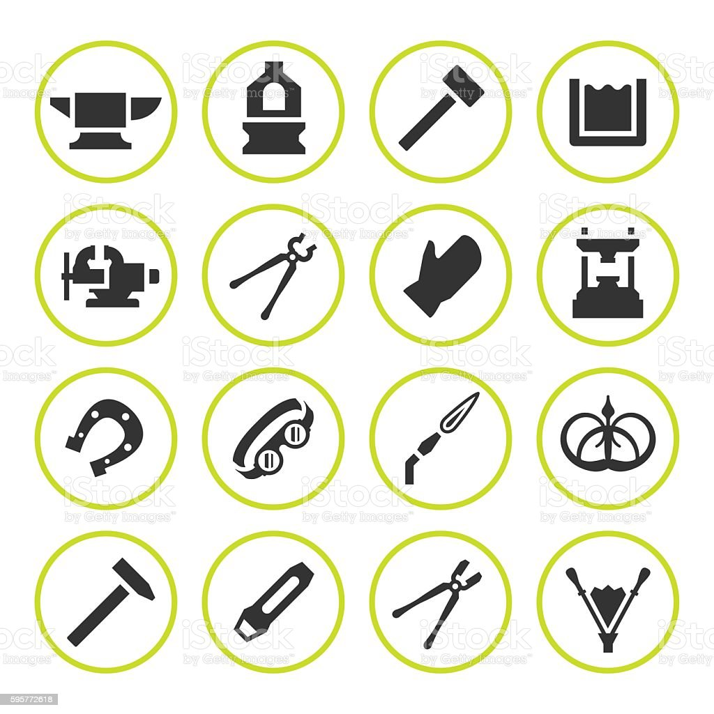 Set round icons of forge vector art illustration