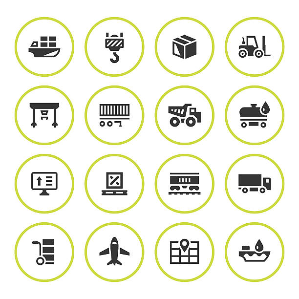 Set round icons of logistic - Illustration vectorielle