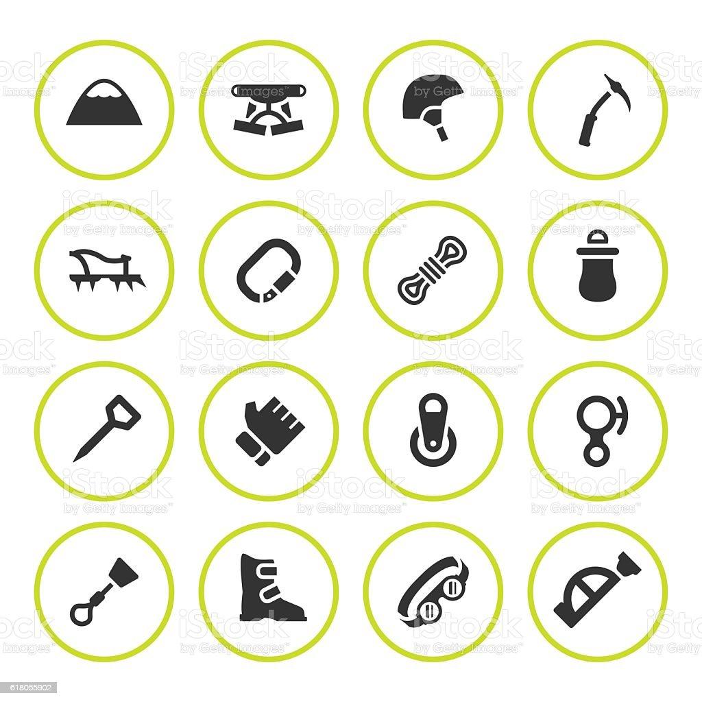 Set round icons of mountaineering - ilustración de arte vectorial