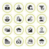 Set round icons of natural disaster