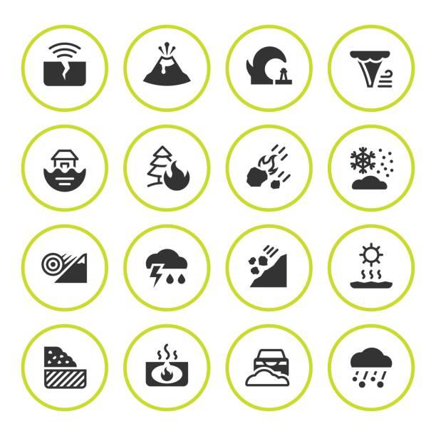set runde ikonen der naturkatastrophe - vulkane stock-grafiken, -clipart, -cartoons und -symbole