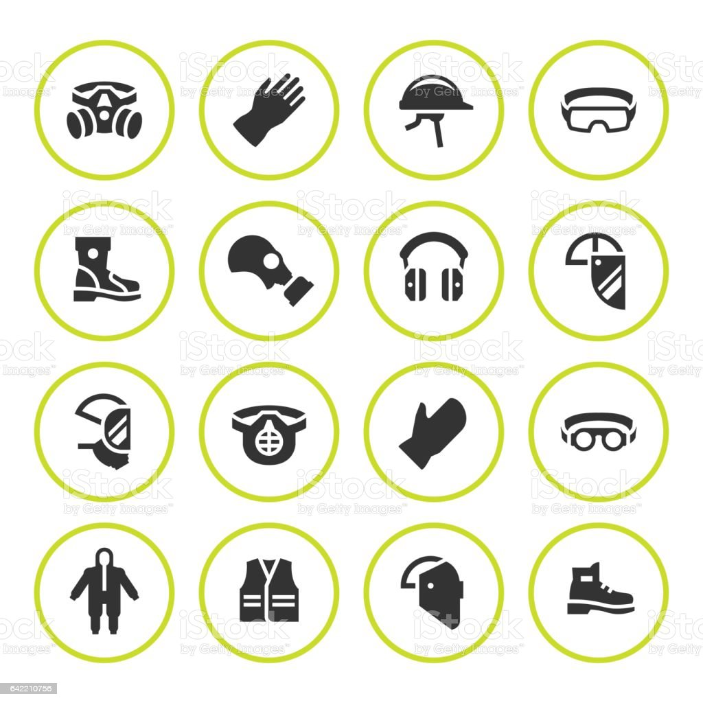Set round icons of personal protective equipment vector art illustration