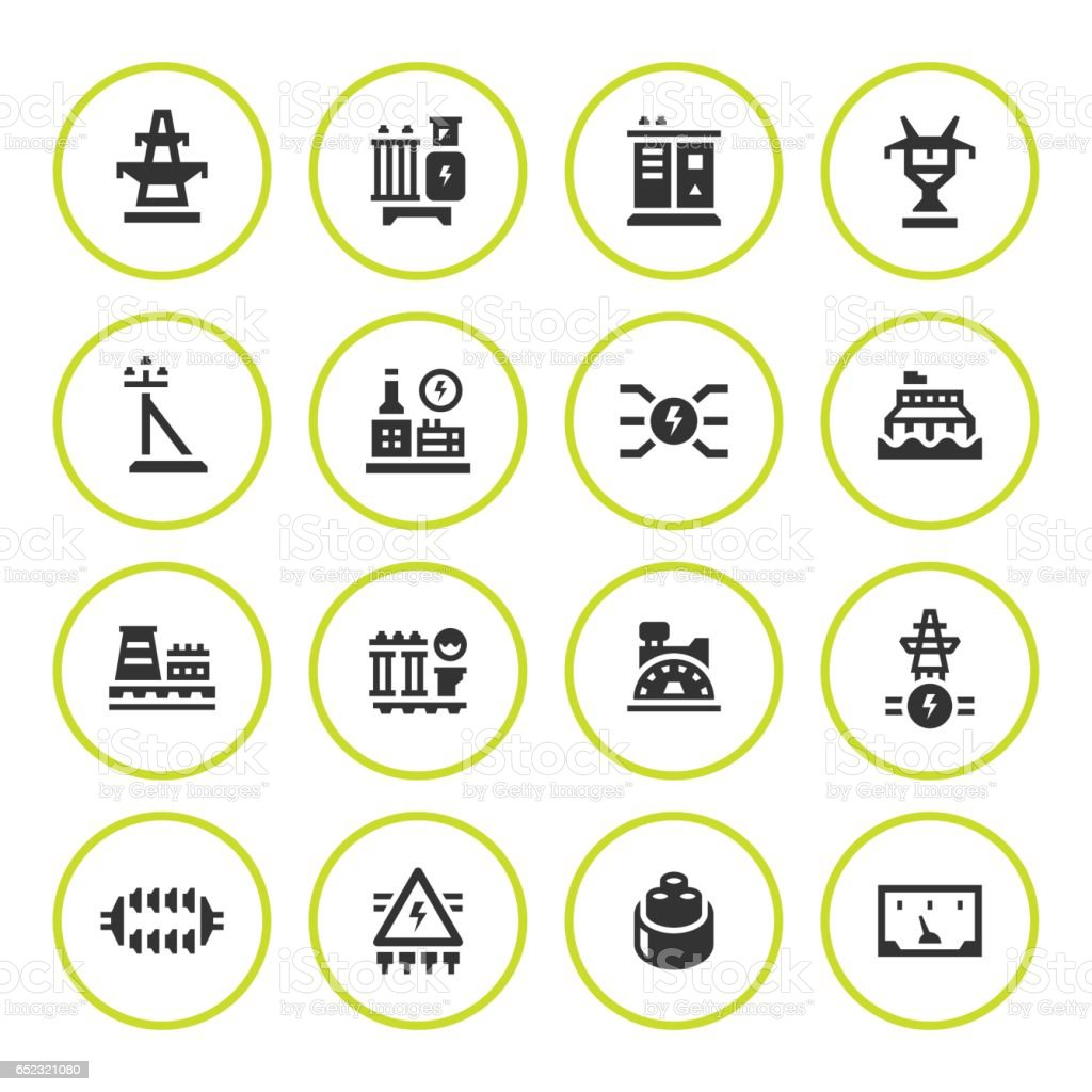 Set Round Icons Of Power Industry Stock Vector Art More Images Of