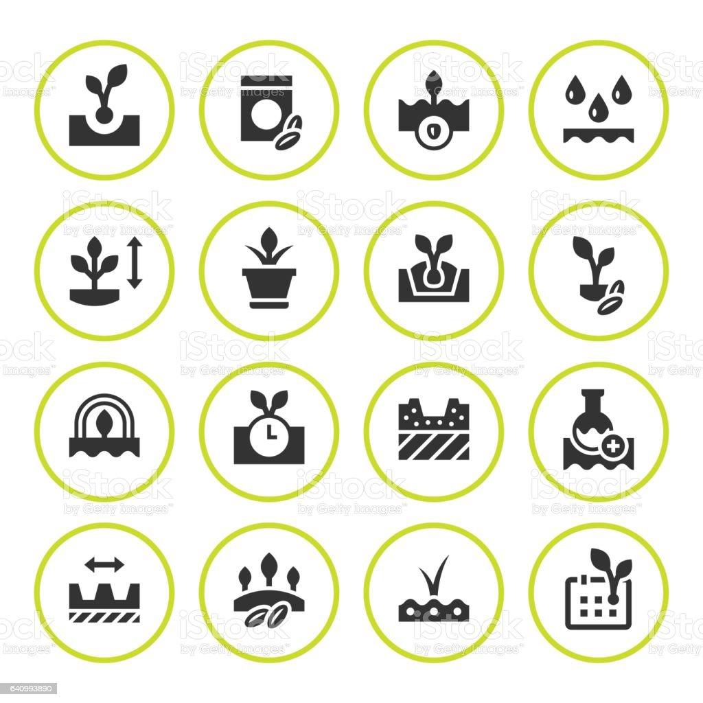 Sets iconos redondos de semilla y plántula - ilustración de arte vectorial