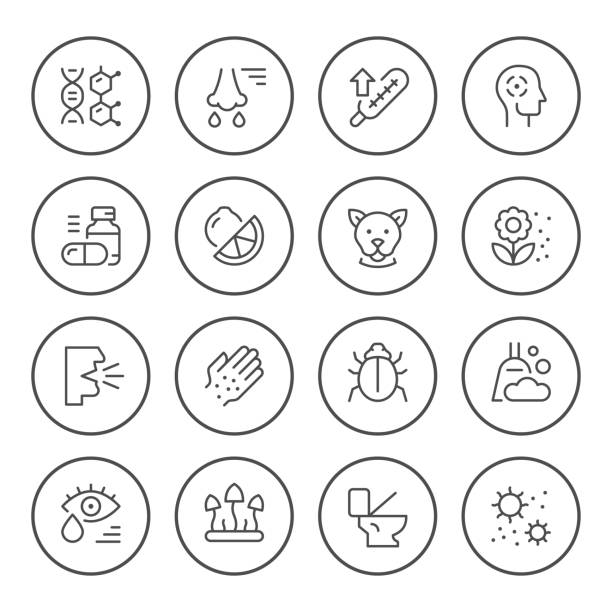 Set round line icons of allergy Set round line icons of allergy isolated on white. Vector illustration pollen stock illustrations