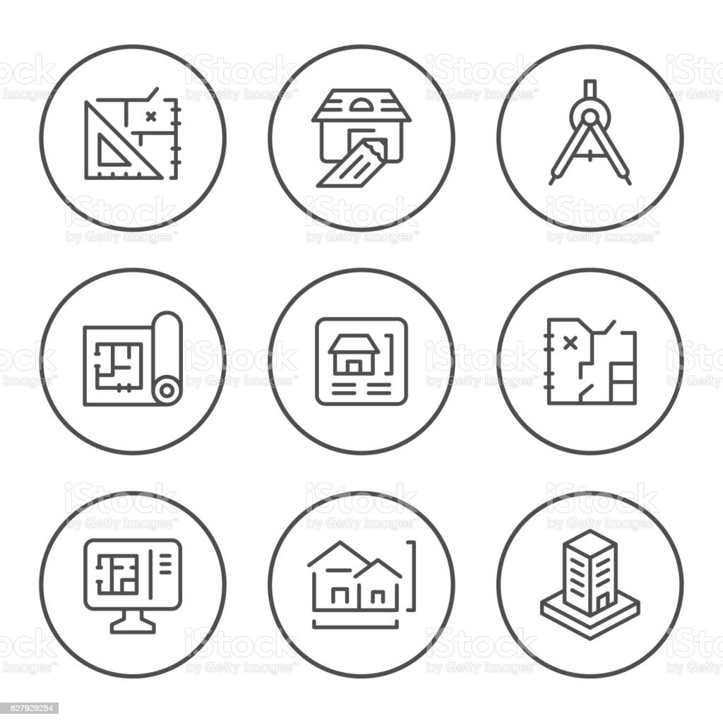 Set round line icons of architectural vector art illustration