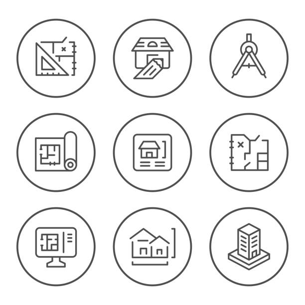 set round line icons of architectural - architect stock illustrations, clip art, cartoons, & icons