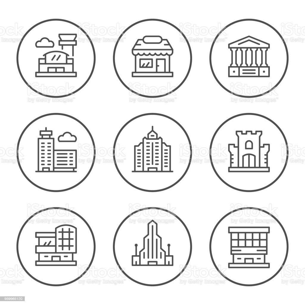 Icônes de définir ligne ronde des bâtiments - clipart vectoriel de Affaires libre de droits