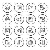 Set round line icons of insulation