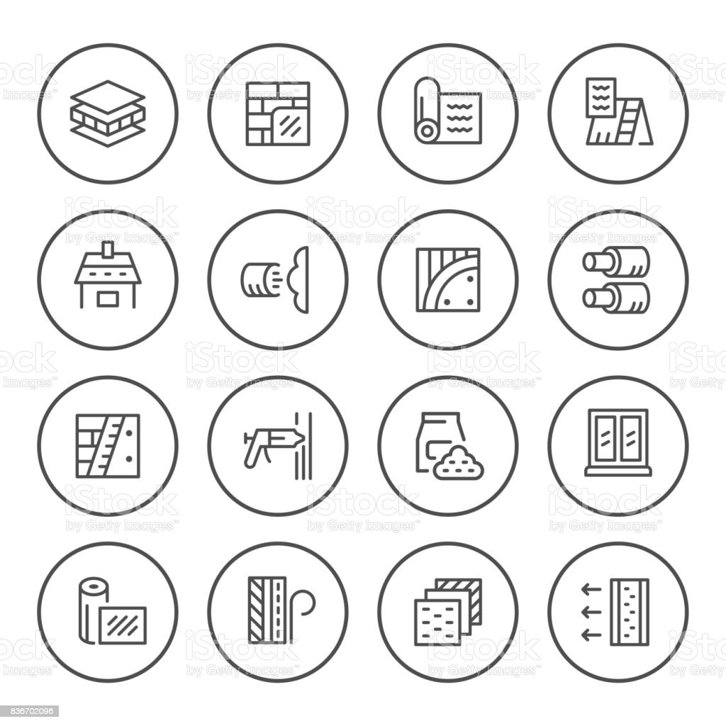 Set round line icons of insulation vector art illustration