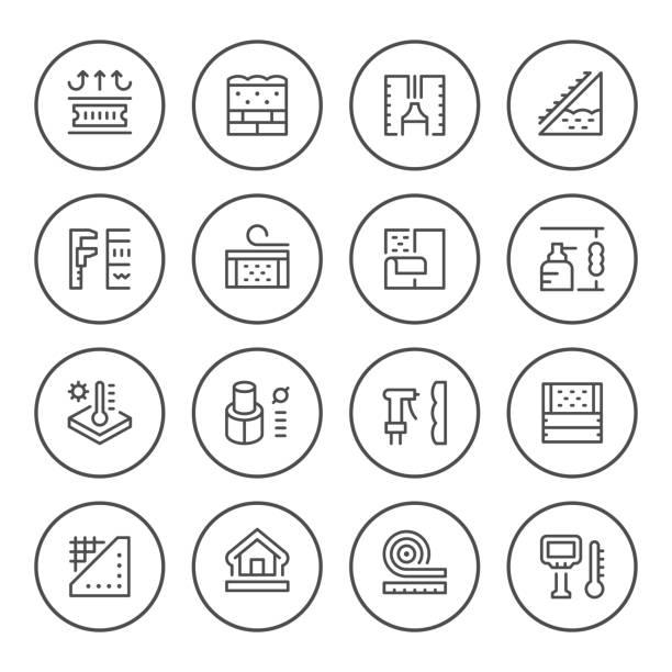 illustrations, cliparts, dessins animés et icônes de icônes de définir ligne ronde d'isolation - sol caractéristiques d'une construction