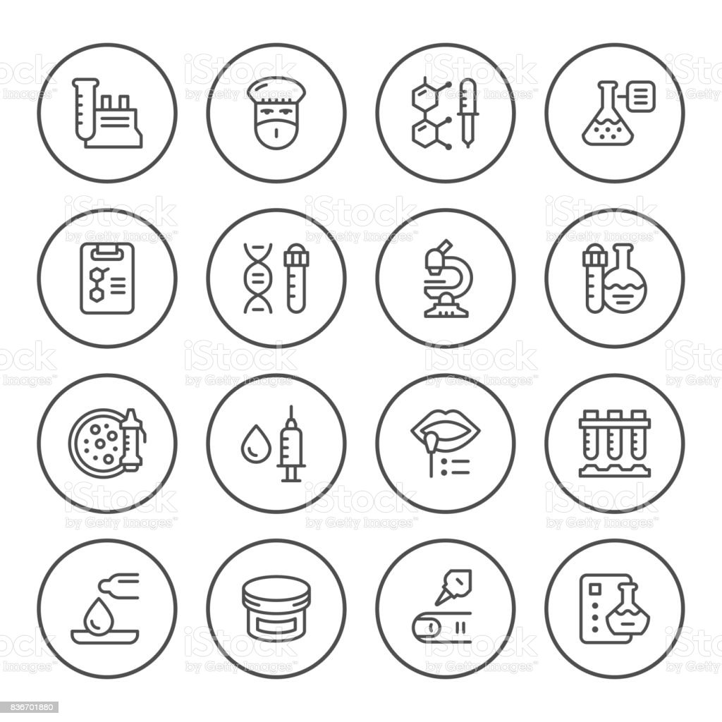 Set round line icons of medical analysis vector art illustration