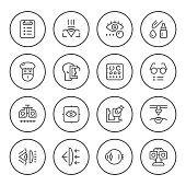 Set round line icons of ophthalmology