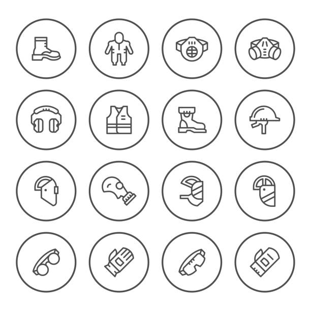 Set round line icons of protecting equipment vector art illustration