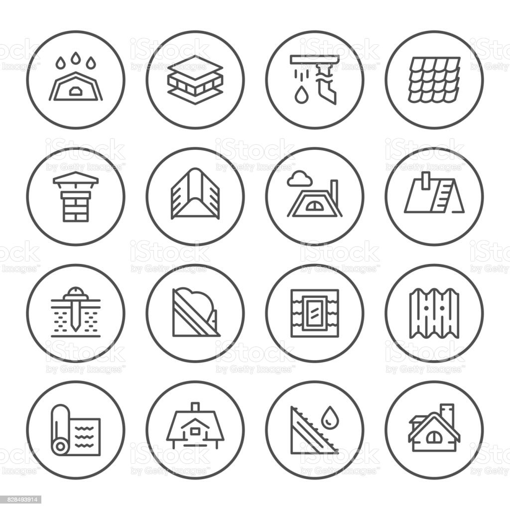 Set round line icons of roof vector art illustration