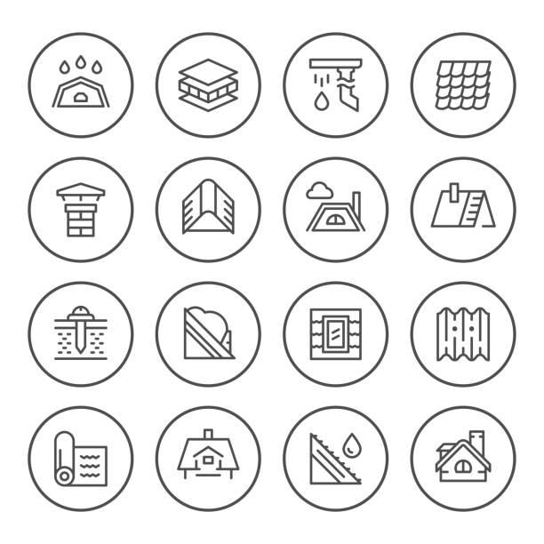 runde setzleitung symbole des daches - dachboden stock-grafiken, -clipart, -cartoons und -symbole