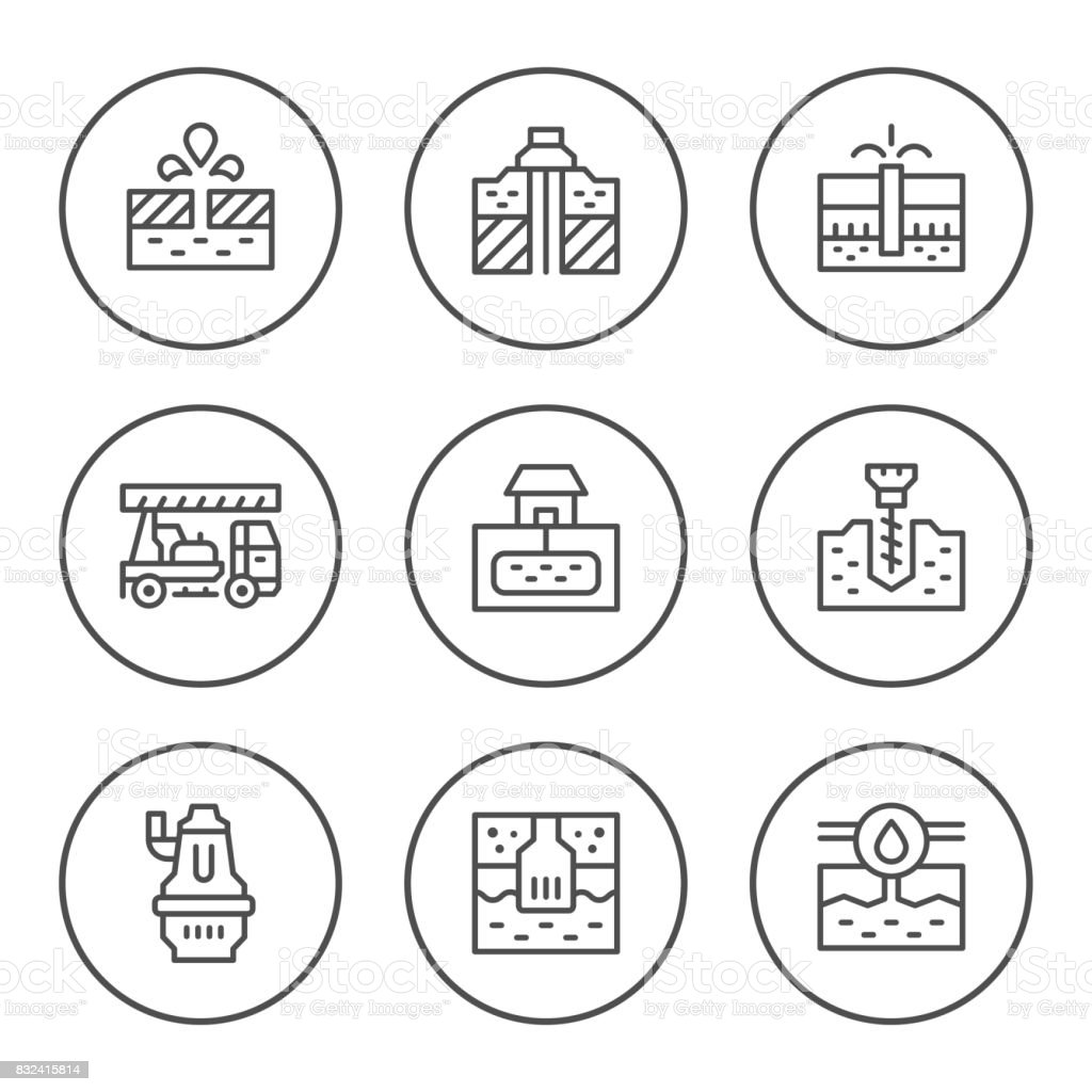 Set round line icons of water bore vector art illustration