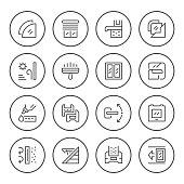 Set round line icons of window