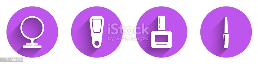 Set Round makeup mirror, Hand mirror, Nail polish bottle and Nail file icon with long shadow. Vector