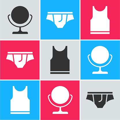 Set Round makeup mirror, Underwear and Sleeveless T-shirt icon. Vector.